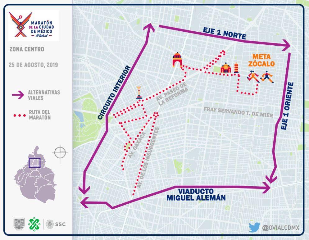 Foto: Esta es la ruta que tomará el Maratón de la Ciudad de México, 25 agosto 2019