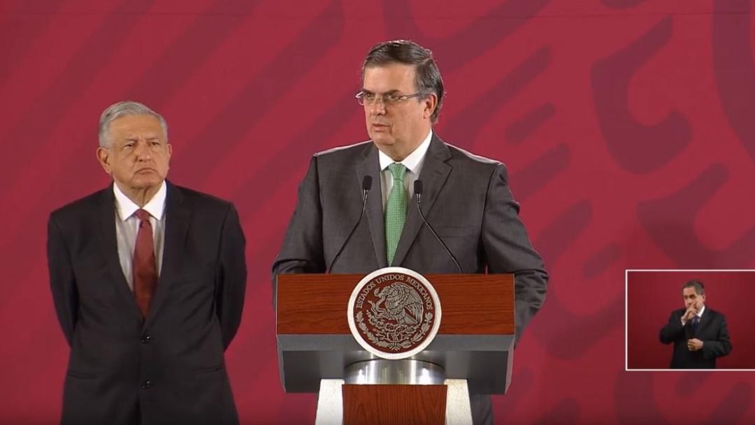 Foto: El secretario de Relaciones Exteriores, Marcelo Ebrard Casaubón (d), ofrece una conferencia de prensa junto al presidente Andrés Manuel López Obrador, 14 agosto 2019