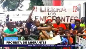 Migrantes africanos protestan en Tapachula, Chiapas