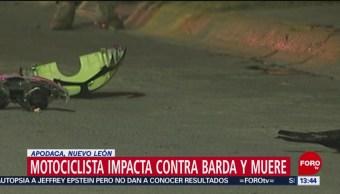 FOTO: Motociclista Impacta Contra Barda Muere Apodaca Nuevo León