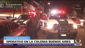 Movilización policíaca por fiestas patronales en la colonia Buenos Aires, CDMX