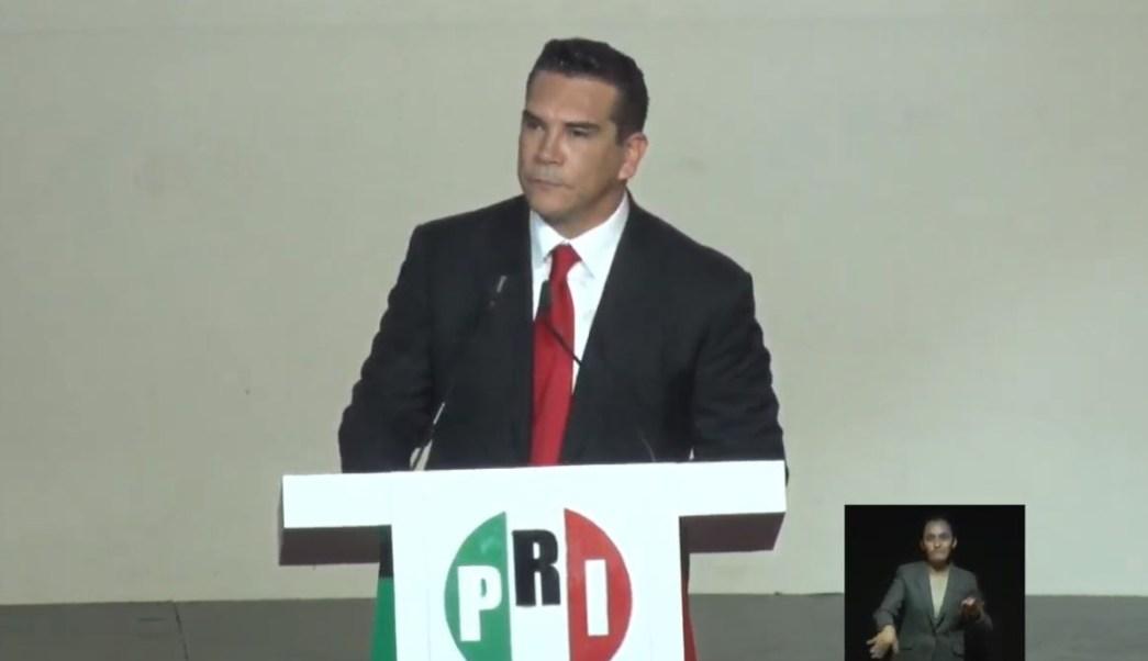 Foto: Alejandro Moreno Cárdenas rinde protesta como nuevo presidente del PRI, el 18 de agosto de 2019 (PRI)