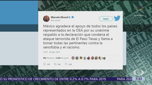 OEA respalda condena de México por ataque en El Paso, Texas