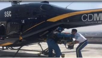 Foto: Policía fue trasladado en helicóptero tras accidente, 24 de agosto de 2019 (Noticieros Televisa)