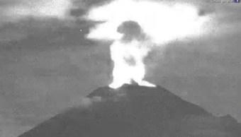 Continúa actividad explosiva del Popocatépetl