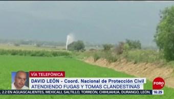 Foto: Protección Civil Atiende Fugas Tomas Clandestinas México 23 Agosto 2019