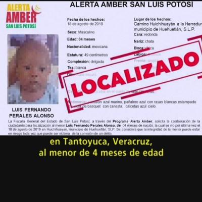 Recuperan en Veracruz a bebé robado en la Huasteca Potosina