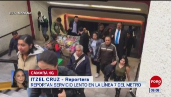 Reportan servicio lento en la Línea 7 del Metro CDMX