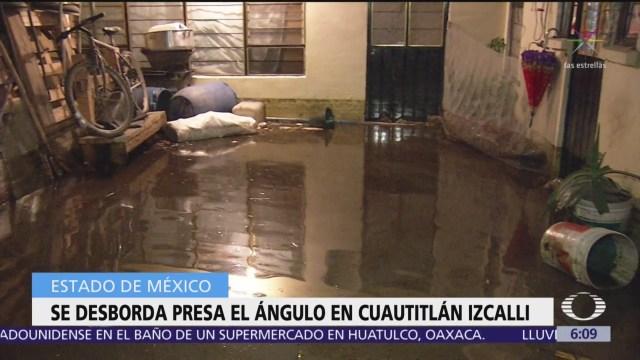 Se desborda la presa El Ángulo en Cuautitlán Izcalli, Edomex