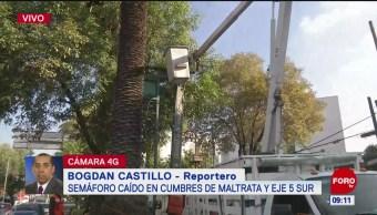 Semáforo caído en calles de la alcaldía Benito Juárez, CDMX
