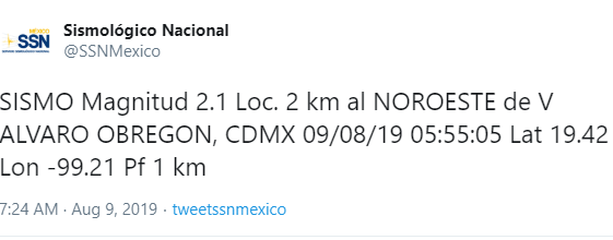 FOTO Se registra sismo con epicentro en Álvaro Obregón, CDMX (Twitter SSN)