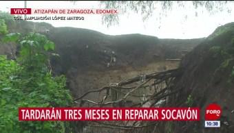 Las fuertes lluvias provocaron un deslizamiento de un talud en la colonia Ampliación López Mateos, municipio de Atizapán de Zaragoza, Estado de México, 7 agosto 2019