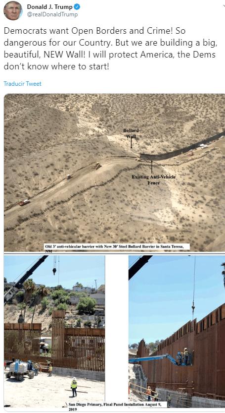 FOTO Trump presume fotos de muro en frontera con México (Twitter)