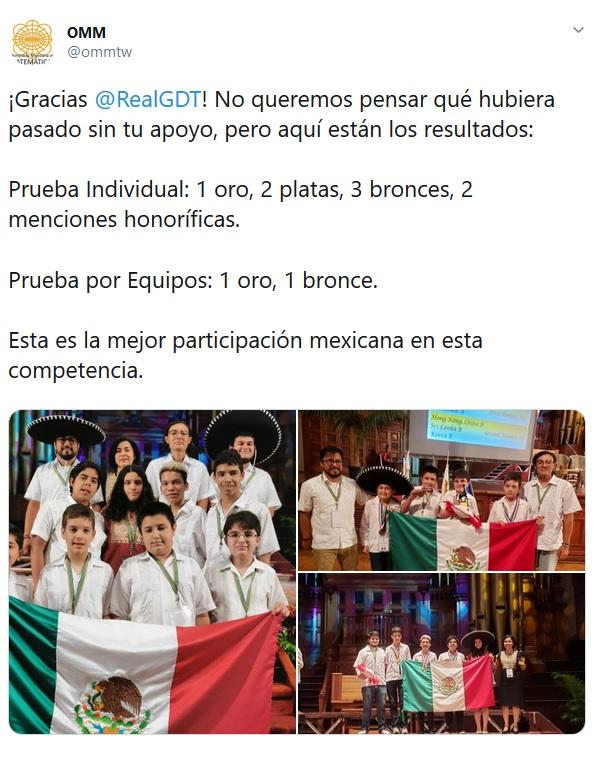 La Olimpiada Mexicana de Matemáticas agradeció el apoyo de Gillermo del Toro.