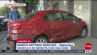 Foto: Vehículo Se Impacta Contra Casa Colonia Roma CDMX,
