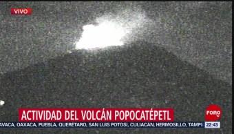 FOTO: Volcán Popocatépetl mantiene intensa actividad esta noche, 25 Agosto 2019