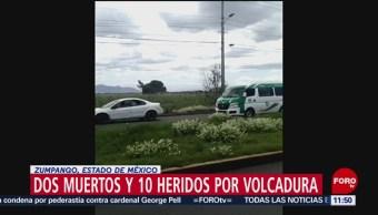 Vuelca transporte público en Zumpango-Tecámac; mueren dos personas