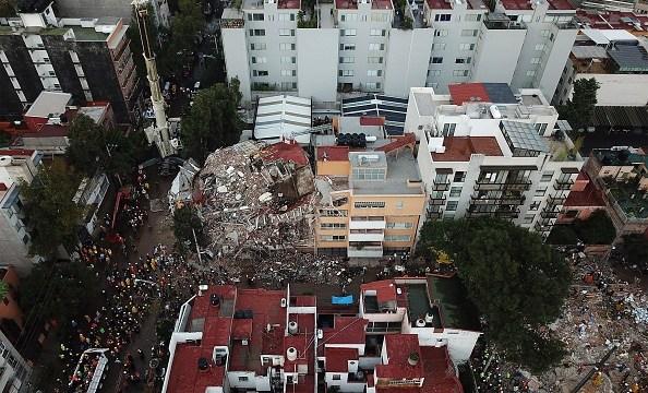 Foto: Una imagen aérea muestra un edificio colapsado por el sismo del 19 de septiembre de 2017 en la Ciudad de México, 19 de septiembre de 2019, (Getty Images, archivo)