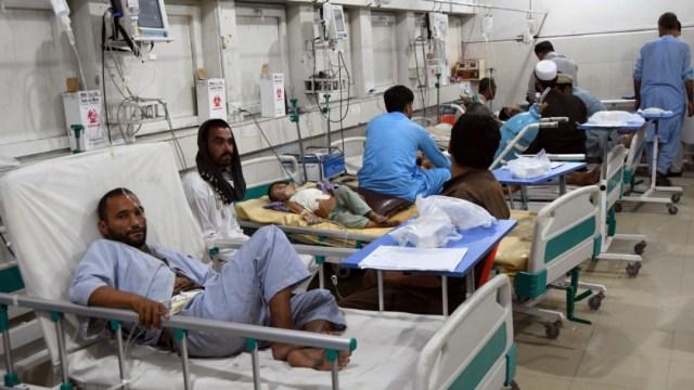 Fotografía que muestra civiles heridos tras los ataques de insurgentes durante las elecciones en Afganistán, 28 SEPTIEMBRE 2019