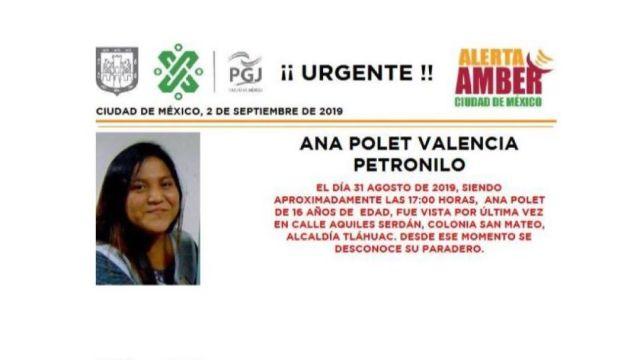 Foto Alerta Amber Ayuda a localizar a Ana Polet Valencia Petronilo 2 septiembre 2019
