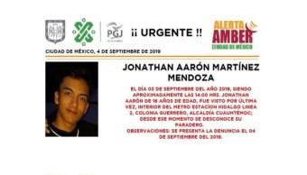 Foto Alerta Amber Ayuda a localizar a Jonathan Aarón Martínez Mendoza 4 septiembre 2019