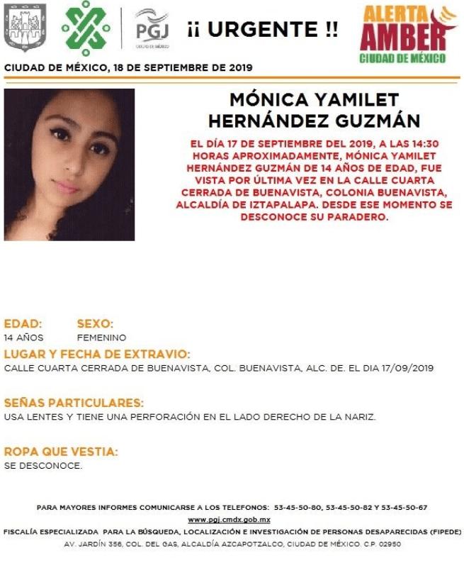IMAGEN Activan Alerta Amber por Mónica Yamilet Hernández Guzmán (PGJ CDMX)