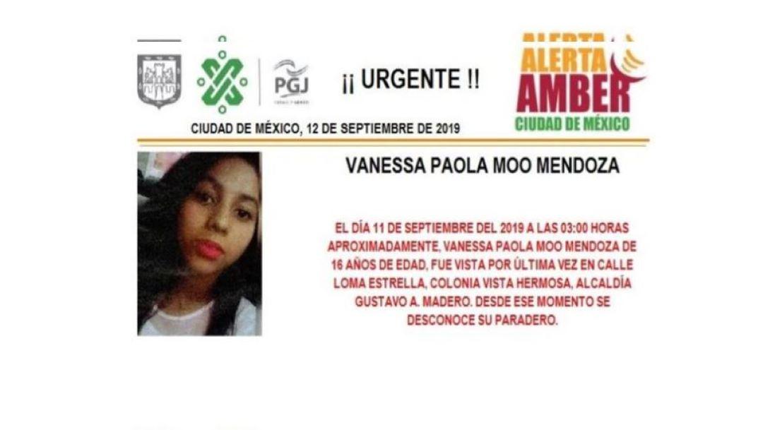 Foto Alerta Amber para ayudar a localizar a Vanessa Paola Moo Mendoza 12 septiembre 2019