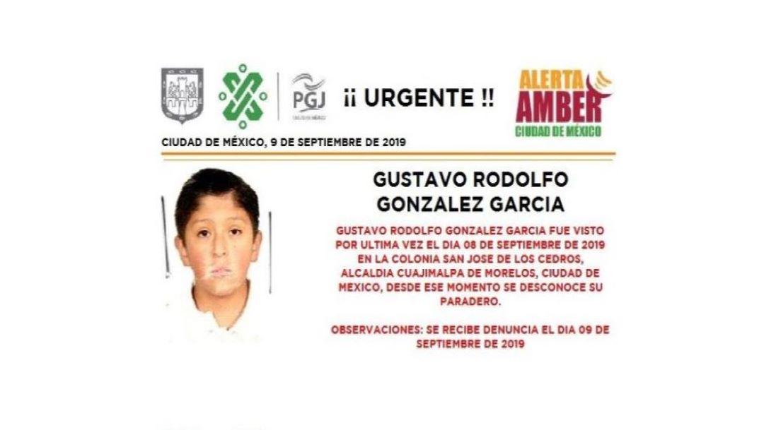 Foto Alerta Amber para localizar Gustavo Rodolfo González García 9 septiembre 2019
