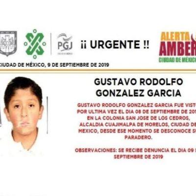Alerta Amber: Ayuda a localizar a Gustavo Rodolfo González García
