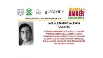 Foto Alerta Amber para localizar a Jael Alejandro Valencia Tolentino 12 septiembre 2019