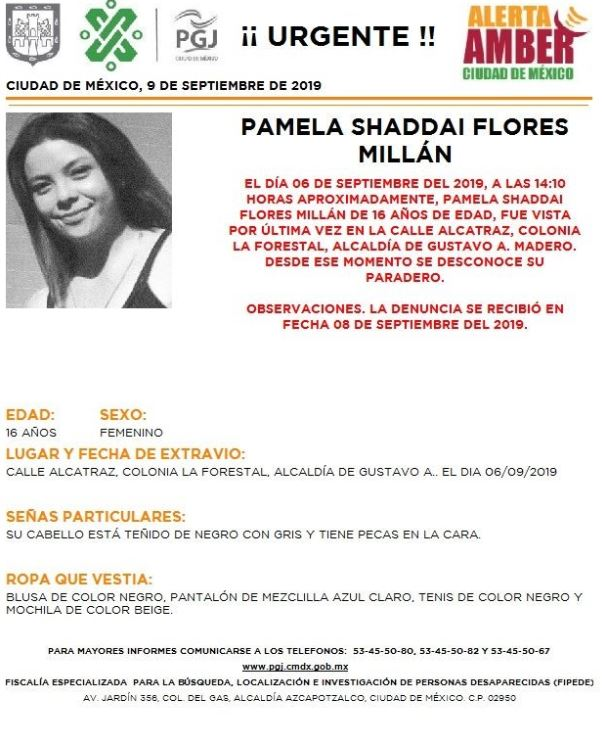 Foto Alerta Amber para localizar a Pamela Shaddai Flores Millán 9 septiembre 2019