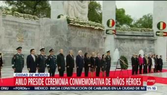 AMLO realiza pase de lista en ceremonia conmemorativa de Niños Héroes