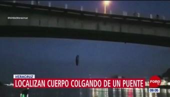 Aparece cuerpo colgado de un puente, en Veracruz