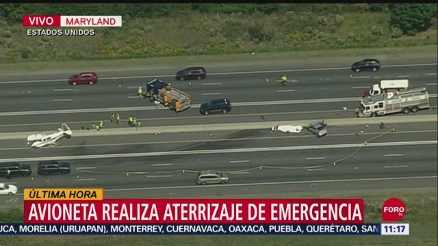 Avioneta realiza aterrizaje de emergencia en autopista de Maryland, EU