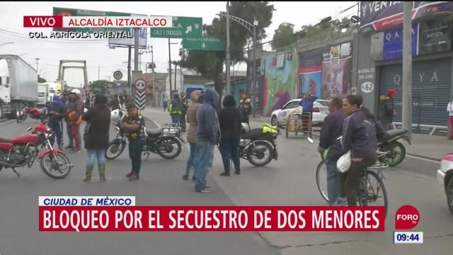 FOTO: Bloqueo por secuestrodos menores alcaldía Iztacalco CDMX