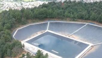 Captador de agua de lluvia en el cerro Kukundicata, la más grande de Latinoamérica