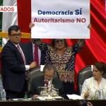 Foto: Muñoz Ledo declaró el inicio del periodo legislativo en medio de protestas, 1 de septiembre de 2019 (Noticieros Televisa)