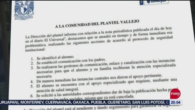 Foto: Cch Vallejo Seguimiento Estudiante Detenido Policía Cibernética 11 Septiembre 2019