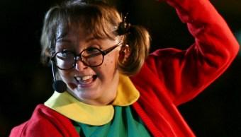 """La actriz María Antonieta de las Nieves, interpretando al personaje de """"La Chilindrina"""", 15 septiembre 2019"""