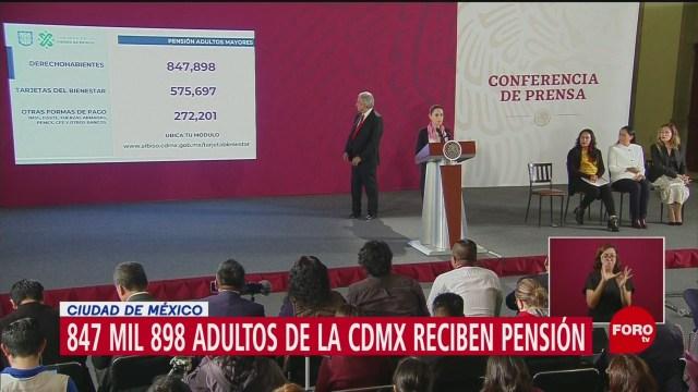 Claudia Sheinbaum: 847 mil adultos mayores recibirán pensiones en CDMX