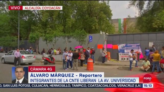Foto: Cnte Libera Circulación Avenida Universidad CDMX 24 Septiembre 2019