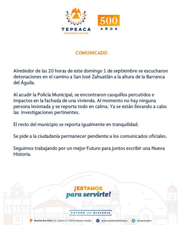 IMAGEN Se registran balaceras en Amozoc, Puebla (Twitter)