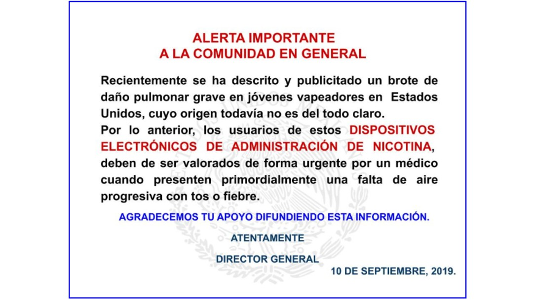 Foto: Comunicado del INER sobre vapeo, 10 de septiembre de 2019, Ciudad de México