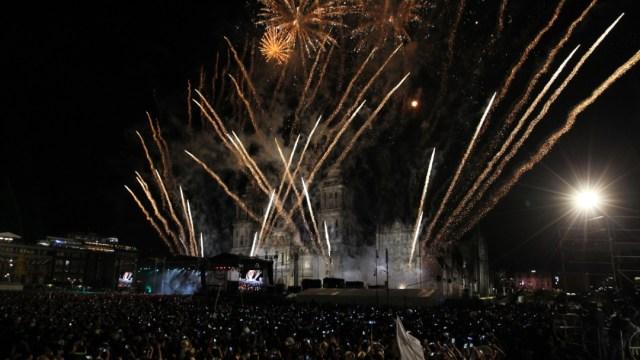 Celebración del Grito de Independencia en el Zócalo