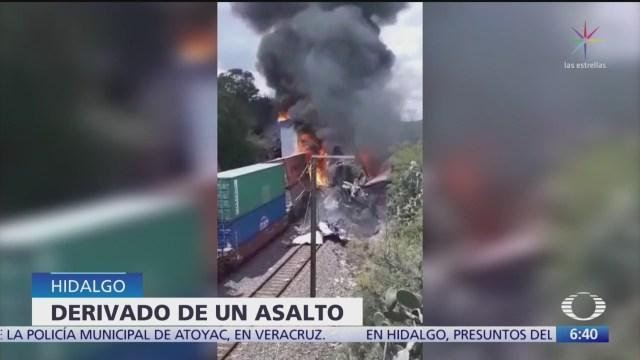 Delincuentes provocan choque de trenes en Hidalgo