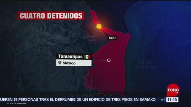 Detienen a cuatro integrantes de grupo delictivo en Tamaulipas