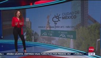 FOTO: El clima con Mayte Carranco del 27 de septiembre de 2019, 27 septiembre 2019