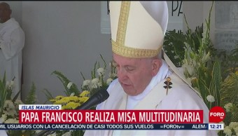 El papa Francisco realiza misa multitudinaria en Islas Mauricio