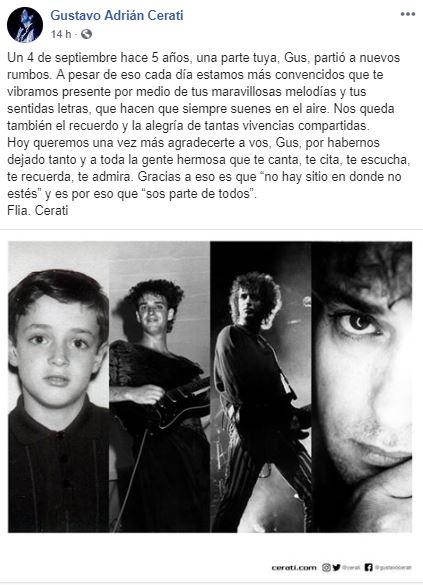 Foto Familia recuerda con emotivo mensaje a Gustavo Cerati, a 5 años de su muerte 4 septiembre 2019
