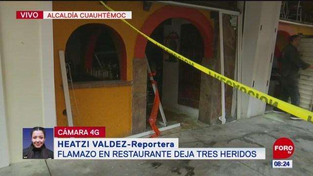 Flamazo deja tres heridos en alcaldía Cuauhtémoc